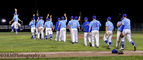 Royals celebrate game 3 win during NBSBL finals against the Moncton Mets.