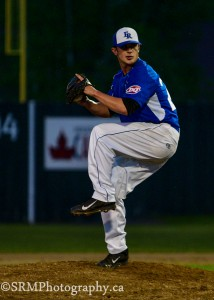 20 Year old Jake Shaw delivers a pitch in relief action last Friday Night.  Shaw makes his first start as a Royal Thursday night in Saint John